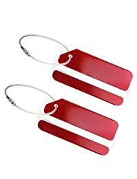 Set of 2 Aluminum Metal Travel Suitcase Luggage Identifier Tags Labels Bag ID Name Address Tag Label with Screw Chain, Red