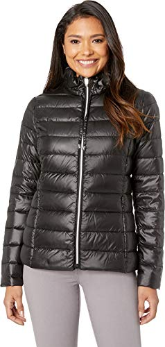 (Via Spiga Women's Packable Soft Puffer with Ruffle Detailed Stand Collar Onyx Small)