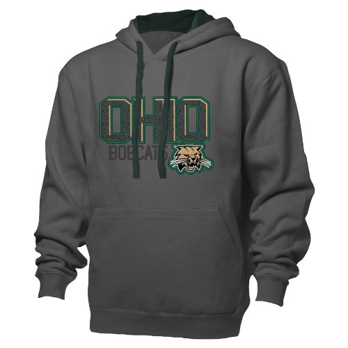 Garment Dyed Pullover Hood (NCAA Ohio Bobcats Benchmark Colorblock Pullover Hood, Large, Graphite/Athletic Hunter)