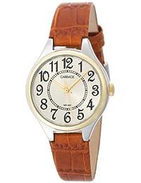 Carriage C3C401 Reloj de pulsera para mujer, de dos tonos, esfera redonda, esfera de campaigno, correa de piel de cocodrilo, color café