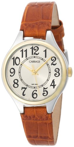(Carriage Women's C3C401 Two-Tone Round Case Champaign Dial Brown Croco Leather Strap Watch)
