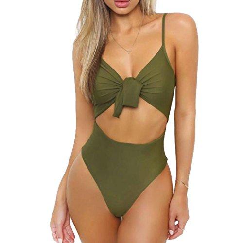 Out Ruched Padded Beach Bikini Backless One Piece Monokini Swimwear (XL, Army Green) ()