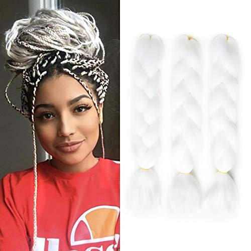 Jumbo Braiding Hair White Pure Color Kanekalon Braiding Hair Extensions 100g/Pcs Synthetic Braiding Hair (3PCS, White) (Best Hair Colour For White Hair)