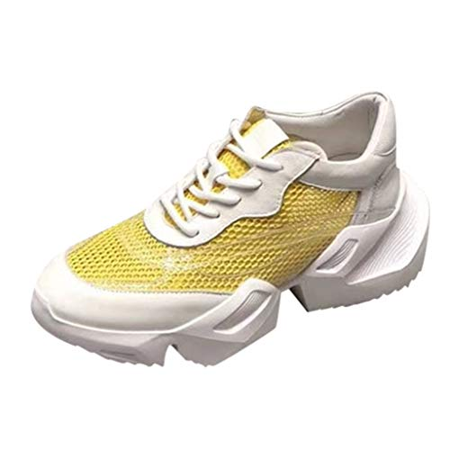 YOcheerful Womens Sneakers Mesh Ultra Breathable Thick Bottom Athletic Running Sports Shoe Brisk Shoes Yellow (Black And White Patent Leather Air Force Ones)