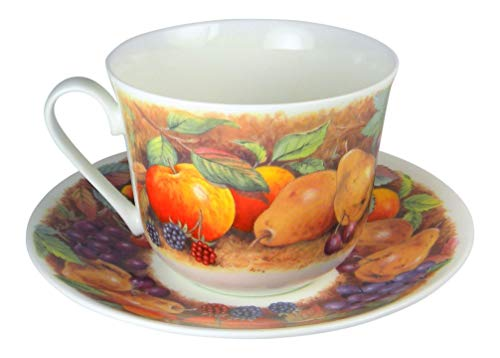 Roy Kirkham Pears, Peaches, Grapes Fruit Garden Breakfast Jumbo Teacup and Saucer Set Fine Bone China England