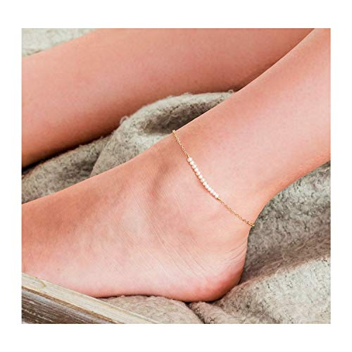 Mevecco Gold Dainty Freshwater Cultured Pearl Anklet,14K Gold Plated Cute Tiny Bead Boho Beach Bar Balance Horizontal Pearl Ankle Bracelet for - Pearl Flower Mother Of