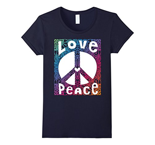 60s 70s Fashion (Womens PEACE SIGN LOVE T Shirt 60s 70s Tie Dye Hippie Costume Large Navy)