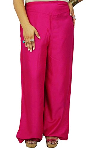 mujeres rayón pantalones pijama pantalón boho fondos gitanas desgaste del verano ropa de mujer Dsrk Magenta