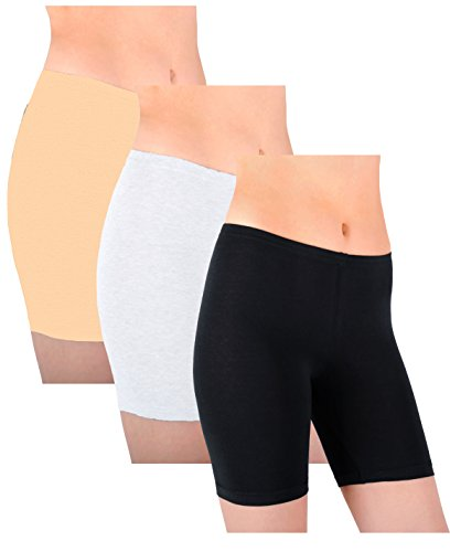 sexy-basics-womens-3-pack-sheer-sexy-cotton-spandex-boyshort-yoga-bike-shorts-x-large-8-black-white-