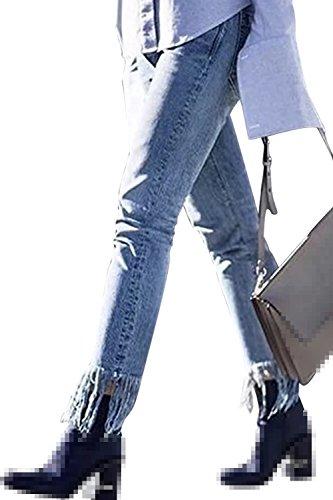 Pantaloni Donne Skinny Jeans Caviglia Nappe Frange Si Blue Le Scappando Solido HARnqfqB