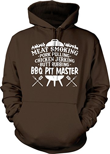 NOFO Clothing Co Meat Smoking, Butt Rubbing, BBQ Pit Master Hooded Sweatshirt, XL Brown ()