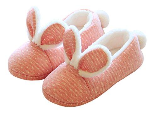 Chicnchic Kvinners Fuzzy Rosa Bunny Kanin Øret Vinter Tøfler Komfortable Hjem Tøfler Rosa