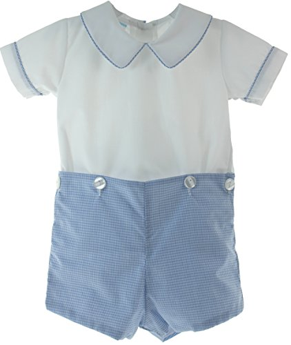 Bobby Suit (Petit Bebe Baby Boys Blue White Dressy Bobby Suit Christening Outfit 3M)