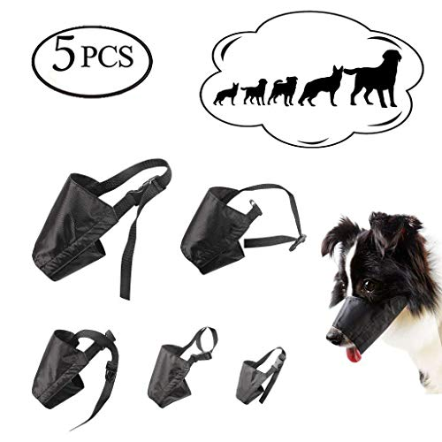 ewinever 5Pcs/Set Adjustable Breathable Safety Small Medium Large Extra Dog Muzzles for Anti-biting Anti-barking Anti-chewing Safety Protection(Black) -