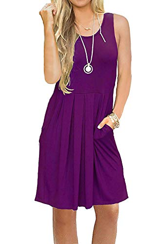 AUSELILY Women's Sleeveless Pleated Loose Swing Casual Dress with Pockets Knee Length (XL, 01Purple) ()