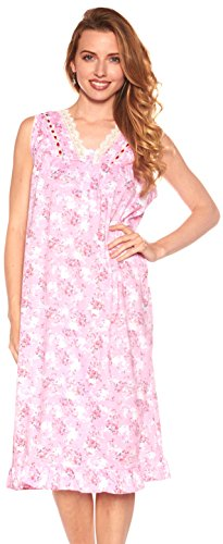Floopi Womens Nightgown Sleepwear Cotton Pajamas - Womans Sleeveless Sleep Dress Nightshirt (L, Pink-00112)