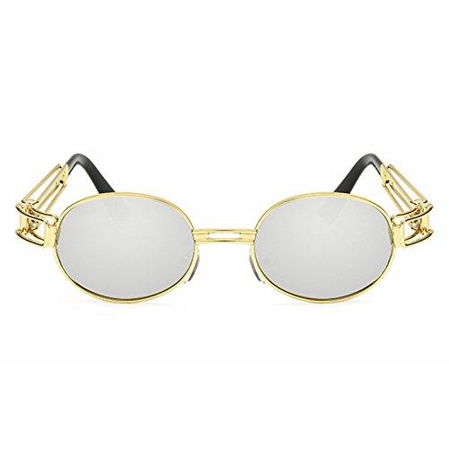 Nouvelles Cadre Yiyepoetry Silver Classique Lunettes Gold Retro Soleil Gold Punk de Soleil Lunettes Color Punk Lens Mode Lens en Ronde Frame Frame métal Silver de Steam ffqOwSEx