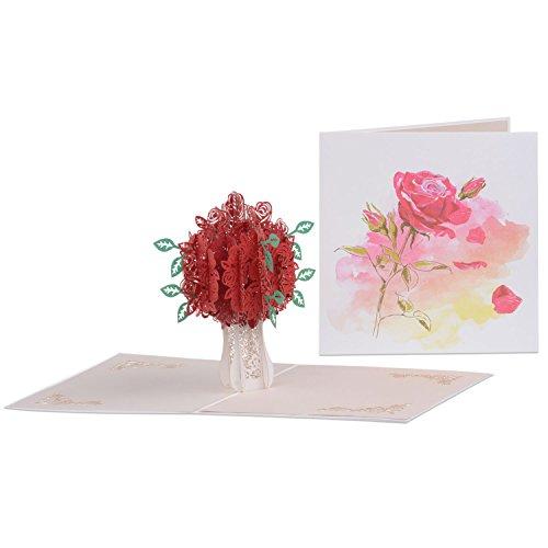 JZOEOEU Rose Pop Up Greeting Cards Valentines Love Flowers 3D Invitation Cards Engagement Wedding Happy Birthday Postcard