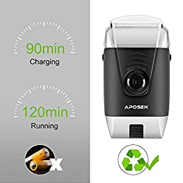 APOSEN Electric Razor for Men, Triple Shaving Time Travel Electric Shaver, USB Rechargeable, Wet & Dry Waterproof…