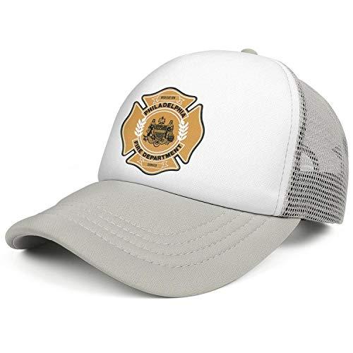 (DXQIANG Philadelphia Fire Department Unisex Unique Mesh Trucker Cap Sun Protection Adjustable Dad)