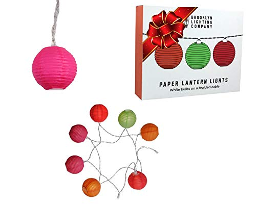 Brooklyn Lighting Company 9 LED Multi Color Paper Lantern String Lights Decorative String Lights, Battery Operated String Lights, Party Decor Supplies for Indoor/Outdoor, 6 Fee (Colored Paper ()