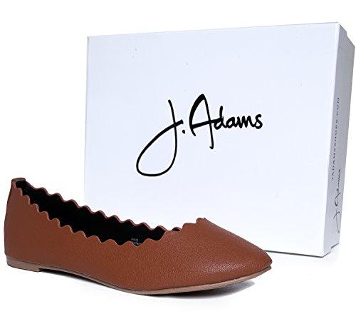 J. Adams Adorable Ballet Festonné Plat - Slip Classique Sur Le Plat - Confortables Chaussures À Bout Fermé - Janie By Tan Pu