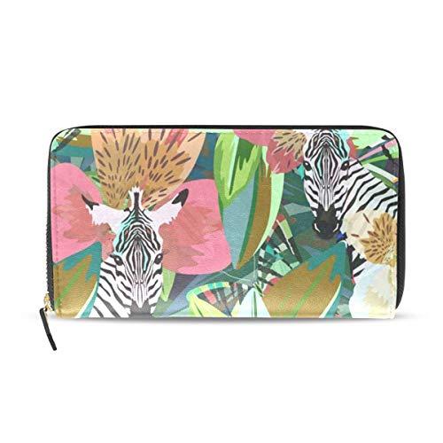- Womens Wallets Summer Tropical Animals Birds Floral Flowers Zebra Striped Leather Passport Wallet Coin Purse Girls Handbags
