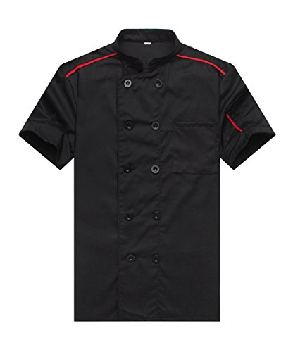 34 Coat Apron (Chef Jackets Waiter Coat Short Sleeves Size L (Label:XXL) Black)