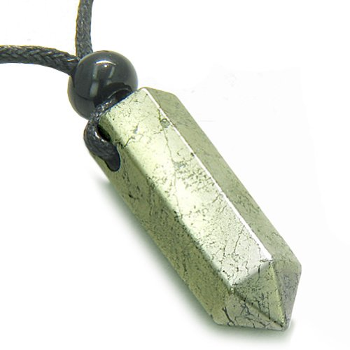 Wand Crystal Pendant (Amulet Golden Pyrite Iron Crystal Point Healing Powers Wand Pendant Necklace)