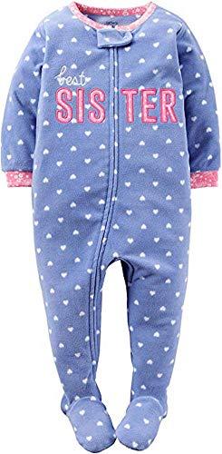 Carters Purple Fleece - Carter's Girls' Toddler 1 Piece Fleece Sleepwear, Purple Best Sister, 4T