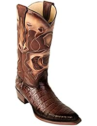 Men's Sinp Toe Genuine Leather Caiman Belly Skin Western Boots - Exotic Skin Boots