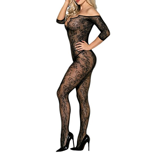 AROOMVE Sexy Rose Lace Lingerie Open Crotch Bodystocking Off Shoulder Bodysuit (Rose Bodystocking Lace Romantic)