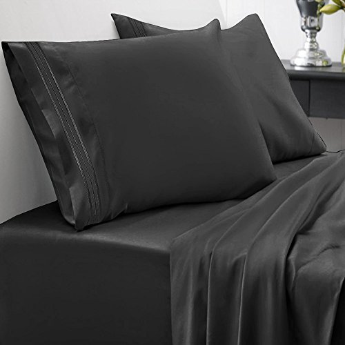 1500 Series Home Collection 4 Piece Bed Sheet Set - King, Black