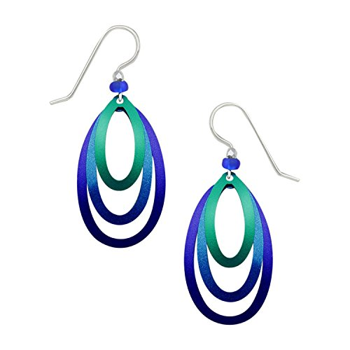 Adajio Thin Lightweight 3 Layer Hand Painted Blue Open Stack Etched Oval Beaded Dangle Earrings