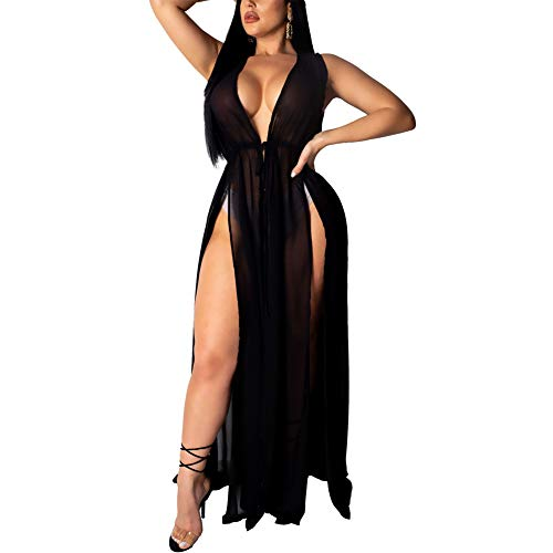 Chiffon Cardigan Swimsuit Cover up - Women's Sleeveless See Through Slit Long Maxi Beach Dress with Belt Black M (High Cut Slit)