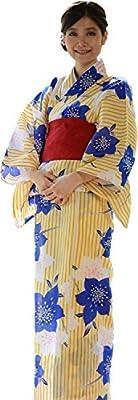 sakura Women Japanese Yukata obi belt set / Yellow flower pattern