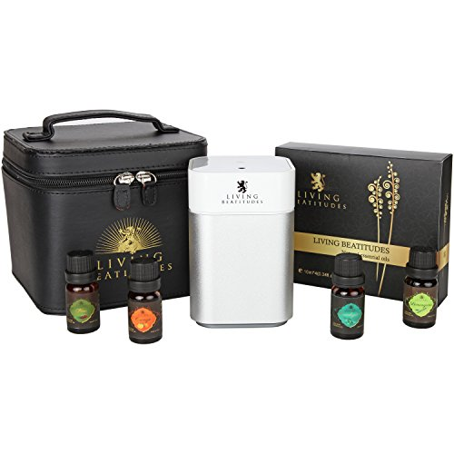 Living BeAtitudes Aromatherapy Essential Oils 100% Pure Therapeutic Grade (Eucalyptus, Lemongrass, Orange, Pine) Gift Set with Nebulizer Micro-air Oil Diffuser - Mist with 100% Oil, No Water (Silver)
