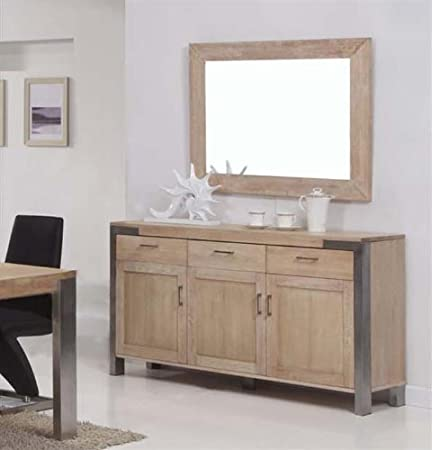 Kasper Wohndesign Palma Sideboard With White Wash Oak Wood Stainless