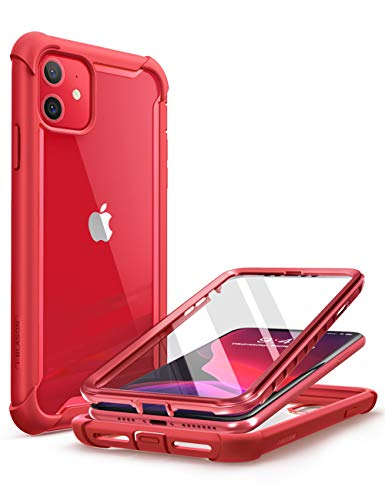 affordable i-Blason Ares Case for iPhone 11 6.1 inch (2019 Release), Dual Layer Rugged Clear Bumper Case with Built-in Screen Protector (Metallic Red)