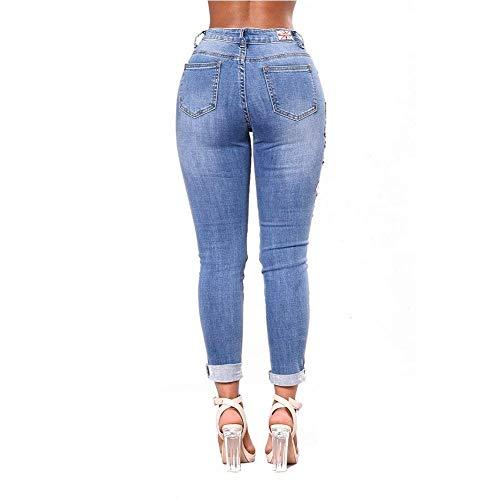 Adelina Rasgado Lápiz Ropa Bordado De Royalblue Pantalones Mujeres Acogedor Agujero Las Alta Ajustados Con Estirar Jeans Cintura Mezclilla Bolsillos Yvxrv0wqa
