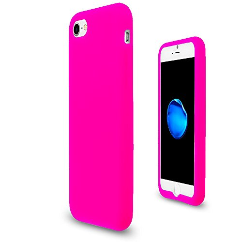 JNSupplier For Apple iPhone 7 Soft Silicone Rubber Case Flexible Matte Skin Jelly Cover (Hot Pink) (Hot Pink Rubber Case)