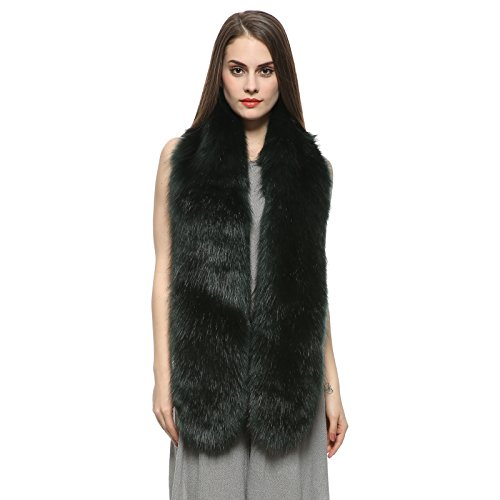 Long Collar Scarf - Dikoaina Women's Men's Extra Large Faux Fox Fur Scarf Collar Stole Shawl 71