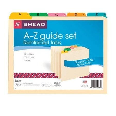 Smead 50180 Manila Guides With Alphabetic Indexed Sets - Printeda - Z - 5 Tab[s]/set - 25 / Set - Manila Divider - Multicolor Tab (SMD50180) WLM ()