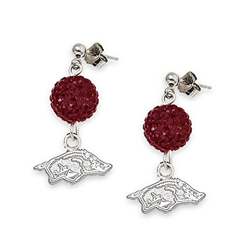 Lex & Lu LogoArt Sterling Silver Univ Of Arkansas Crystal Ovation Earrings