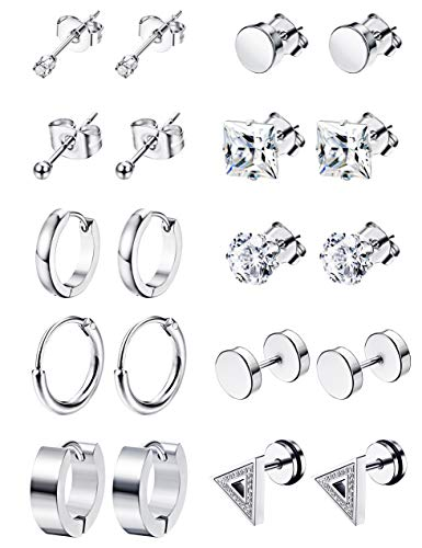 (LOYALLOOK 6-12Pairs Stainless Steel Earrings For Men CZ Stud Earring Tiny Ball Stud Earrings Cartilage Earrings Endless Hoop Earrings For Men Boys (10Pairs Silver Tone))