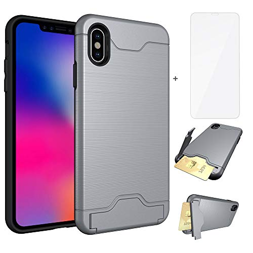 Asuwish iPhone Xs Max Case i Marble Phone Cases Women Men Girls Wallet with Tempered Glass Screen Protector Credit Card Holder Slot Stand Protective Cover for Apple X Max SX 10s 10 Plus 6.5 inch Gray