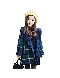 JUNE Girls Winter Hooded Fleece Coat Plaid Woolen Parkas Windbreaker