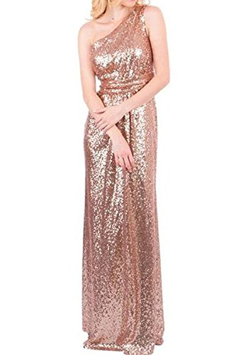 Honey Qiao Women's Bridesmaid Dresses Long Sparkly Sequins One Shoulder Prom Formal Dresses Rose Gold