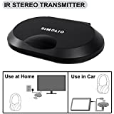 Simolio IR Audio Transmitter, Wireless Infrared Sensor for Vehicle DVD/Car Audio System/TV, IR System for Universal Wireless IR Headphone, 3.5mm Headphone Jack, Car Cigar Lighter & AC Adapter Included