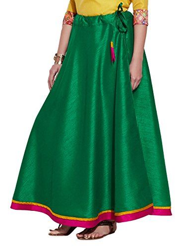 Vert Soie Jupe longue - Fashions Femmes uniques - Polyester Dupion - Artisan Made in India
